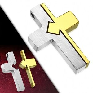 Stainless Steel 2-tone Jigsaw Cross Charm